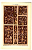 Wood Carving Intarsia Master Pieces in Italy c/a 1895 Antique Print