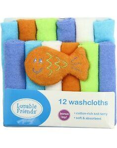Luvable Friends Terry Washcloths 12 Pack Blue Orange Green NEW Fish Bonus Toy