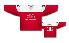 Team Denmark 2017 Red Ice Hockey Jersey Custom Name and Number 73e06b4a1