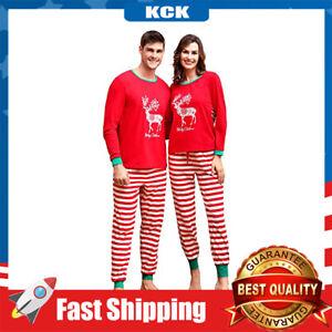 Couples Pajamas Matching Sets Cotton Long Sleeve Crewneck Deer Top Striped Pants