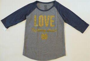 NEW NOTRE DAME Love Fighting Irish 3/4 Sleeve T-Shirt Girl S M L Gray Blue Gold