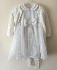 Baby Girl Ivory Dress with Cardigan Baptism Christening Patterned Tulle Elegant