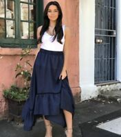 PINK DIAMOND NAVY HIGH LOW MAXI SKIRT SIZES S-XL