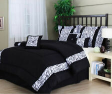 Black White Zebra Animal Print 7 Piece Comforter Bedding Set King Size