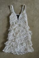 Isabel Marant White Front Zip Shoulder Ruffle Dress Womens Size 1 EU 36 UK 8