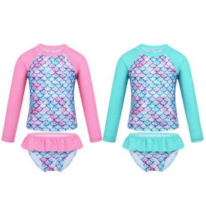 Kinder Mädchen Fischschuppen Schwimmanzug UV Schutzkleidung Zweiteiler Bademode