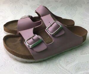 Birkenstock Sandals Shoes Size 37 Dusky Pink Slip On Dual Buckle Leather W794