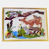 FOREST FRIENDS Vtg Crewel Embroidery Kit Deer Rabbit Squirrel Raccoon Turtle