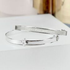 Personalised Engraved Sterling Silver Childs Expanding Diamante Star Bracelet