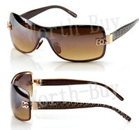 New DG Shield Womens Designer Sunglasses Shades Wrap Gold Brown Retro Fashion