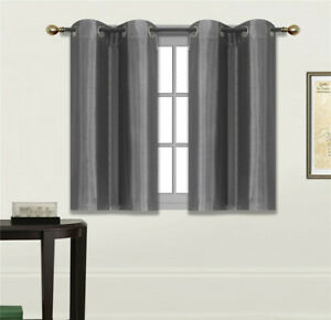 """1 Set Short Silk Window Blackout Insulated  Thermal Lining Curtain D24 36"""""""