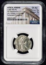 Attica Athens Greek Owl Silver Tetradrachm Coin (440-404 BC) - NGC CH AU 5/5 4/5