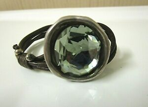 """Unode50 Silver Tone  Leather & Green Crystal Bracelet. 5 1/2"""" x 1"""""""