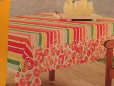 """Celebrate Summer Striped Floral 60""""x 102"""" Oblong Water Repellent Tablecloth"""