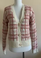 NWT Lauren Conrad Pink Plaid Soft Fuzzy Button Down Cardigan Sweater Women's XS