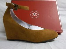 Johnston & Murphy 6.5 M Tracey Amber Suede Ankle Strap Wedges New Womens Shoes