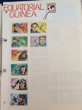 Equatorial Guinea postage stamps war flying aces 1974 8 stamps album page