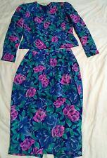 Green pink purple blue silk Neiman Marcus Anne Crimmins,  flowerit skirt