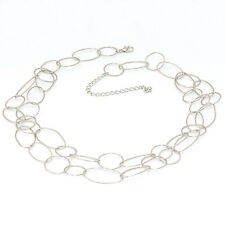 Silver Multi Circles Necklace Double Strand Interlocking