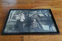 SPOOKY Framed Antique Tinted Photograph Of JENSEN Family KANSAS 1912 halloween