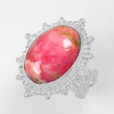 8.47 Grams 925 Sterling Silver Natural Hand Made Rhodochrosite Ring 7 US Jewelry