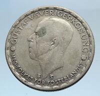 1946 Sweden GUSTAF V Silver Krona Crowned ARMS Antique Vintage Coin i74303
