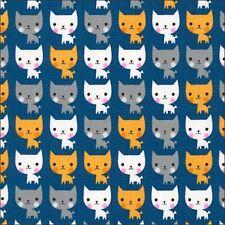Heureux les chats sur coton bleu tissu Robert Kaufman par 1/2m