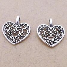 100pc Tibetan Silver Peach heart Pendant Bracelet Necklace Charms Findings P312