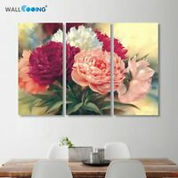 Chinese Peony Flowers Canvas Painting Wall Art Beautiful Flower Picture Decor