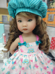 """Lovey Dovey - dress, hat, tights & shoes for 13"""" Effner Little Darlings Doll BJD"""