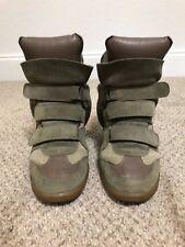 Isabel Marant Bekett Wedge Velcro Sneaker Grey Suede Leather 40 10