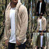 Men's Winter Thick Hoodies Tops Fluffy Fleece Fur Jacket Hooded Coat Outerwear