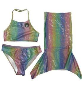 NEW Ex Primark Mermaid Bikini & Tail 3 Piece Girls Swimming Costume Set Swimsuit