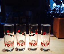 "Stoli Christmas Holly & Berry 4"" Tall Shot / Cordial Glasses Set 4"