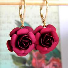 Vintage Red Rose Leverback Earrings