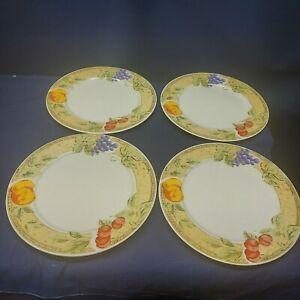 """Vintage Gibson Designs """"FRUIT GROVE"""" Set/4 Dinner Plates Retired 2006"""