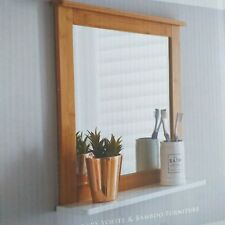 Contemporary Bamboo Furniture &white Shelf Bathroom Mirror Square Shelf mirror