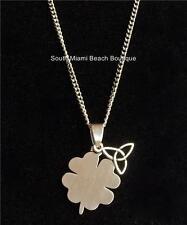 "Silver Shamrock Necklace Celtic Trinity Knot Irish Clover 18"" Stainless Steel"