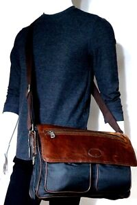 New! Fossil Vintage Leather Transit Nylon EW Messenger Bag MBG8252001 NWT