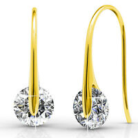 GENUINE CRYSTALS BY SWAROVSKI Hook Drop Earrings 18KP - Krystal Couture KCE809YG