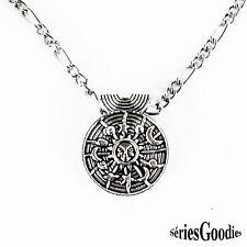bijou gothique celtique voyance collier médaillon disque solaire et lune