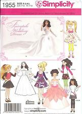 PATTERN toSew Barbie Bratz doll clothes Royal Princess Bride Simplicity 1955