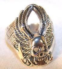 DELUXE SKULL BONES WING SILVER BIKER RING BRA14  jewelry NEW mens rings WINGS