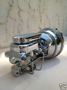 "1961-72 Ford Galaxie 7"" Brake booster & chrome aluminum master cyl 4 wheel disc"
