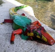 "Large 37"" Recycled Distress Metal Garden Yard Art Alligator Reptile Nautical"