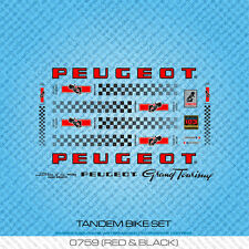 Peugeot Tandem Bicycle Decals - Transfers - Stickers - Red & Black - Set 759
