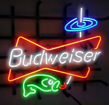"New Budweiser Fishing Light Beer Bar Neon Light Sign 24""x20"""