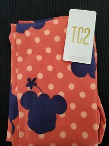 LuLaRoe TC2 Disney Minnie Mouse Peach and Blue Polka Dot Leggings- New!