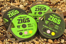 Korda Ready Tied Zig Rigs Carp Fishing Rig *full Range* 6ft Size 10 Mixa Barbless