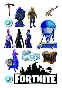 Fortnite logos Figures A4 & A3 Edible Wafer Icing Cake Topper